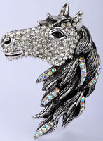 Horse pin brooch pendant animal bling jewelry gifts for women silver tone QBA17