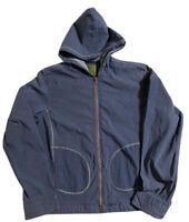 Pulp Women's Size Medium Slate Blue Hooded Nylon Jacket Side Pockets Lightweight
