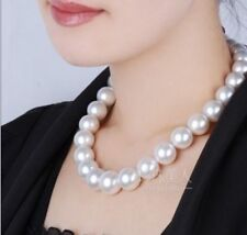 Gorgeous AAA+ 11.5-14mm south sea white round pearl necklace 18 inch 14k GOLD