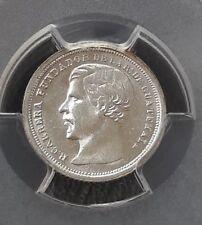 Guatemala 1867 1/2 real silver coin. moneda de plata . PCGS MS64