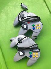 Original Nintendo 64 Gray N64 Controller Vintage 2pc Launch Edition Lot