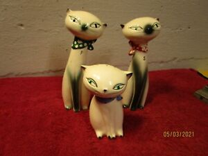 Lot of 3 Siamese Cat Figurines Statues Japan Salt Pepper Holt Howard