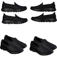 Womens Skechers Casual Shoes Slip On Go Walk 5 Leather Trainers Black Comfort