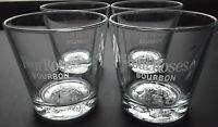 Four Roses Bourbon Glasses Embossed Rose on Bottom of Glass Set of 4