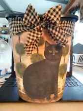 "cat cats kitten primitive Decorative Trash Can 12"" high Bathroom Kitchen Laundry"