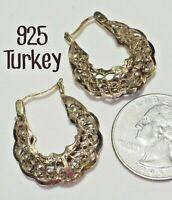 "Vtg Signed 925 TURKEY Sterling Silver Gold Vermeil Filigree Hoop Earrings 1"""
