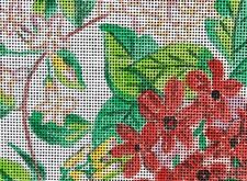 RED & WHITE ANGEL TRUMPET FLOWER PILLOW Hand Painted Needlepoint Canvas 14 MESH!
