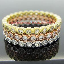 Real Solid 9k White Yellow Gold Rose Engagement Wedding 3 Rings set Lab Diamonds