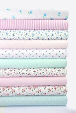 FABRIC BUNDLE PINK AND TURQUOISE 10 FAT QUARTERS FLORAL POLYCOTTON FABRIC CRAFT