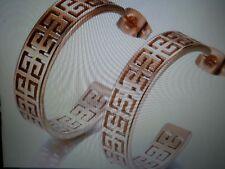NEW WOMEN'S LARGE YELLOW GOLD STAINLESS STEEL GREEK KEY ROUND HOOP EARRINGS