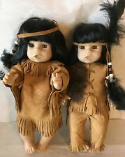 "Native American Boy and Girl Doll 14"" SYNDEE'S CORP. TOOTIE Vinyl Dolls Leather"