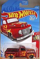 2018 Hot Wheels #85 Flames 4/10 '49 FORD F1 PICKUP Red w/Black St8 Spoke Wheel