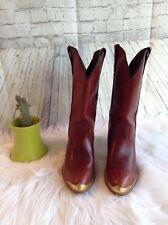 Capezio Women's Leather Western Cowboy Boots Size 9 M Brown Gold Tip L703