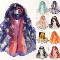 160*50cm Ladies Flower Print Long Wrap Scarf Soft Chiffon Silk Shawl Scarves