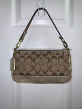 COACH, Small Bag  Logo Print  Canvas Gold Leather Trim