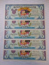 1993 Disney Dollar $1 A Series 5 CONSECUTIVE BILLS Mickey Mouse 65th Anniversary