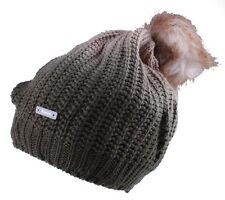 Bench Women's Acrylic Olive Green Khaki Corked Bobble Faux Fur Pom Beanie NWT