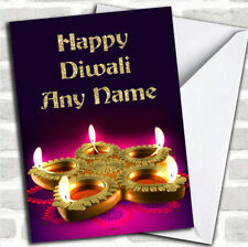 Purple & Gold Candle Customized Diwali Greetings Card