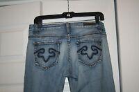 REROCK for EXPRESS women's boot cut Distressed denim jeans 4s short