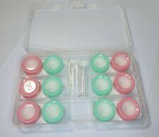 10 piezas Kit de viaje lentes de lente de contacto de color Espejo caso Pinzas Rosa Verde
