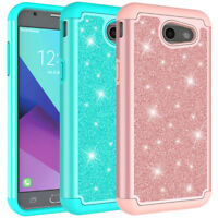 For Samsung Galaxy J3 Eclipse Glitter Case Hard Silicone Hybrid Phone Cover