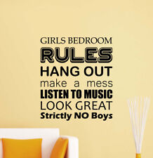 Girls Bedroom Rules Wall Decal Door Sign Poster Quote Vinyl Sticker Decor 827
