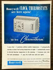1947 Honeywell Chronotherm Clock Thermostats Print Ad They're Here Again!