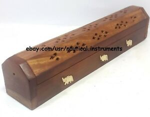 """12"""" Wooden Hollow Out Incense Burner Holder Designer Box Spirituality Relax"""