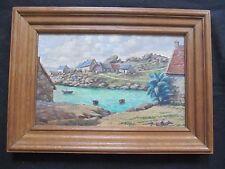 "Superbe  marine  1950 "" le village Breton en bord de mer  """