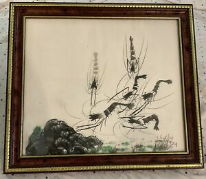 """Shrimp Chinese Ink Painting(14""""x12"""") On Rice Paper By ChuChu"""