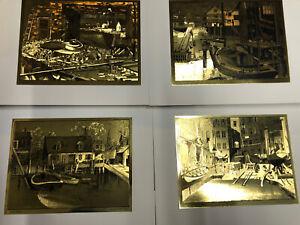 SET OF 4 VINTAGE LIONEL BARRYMORE NAUTICAL GOLD FOIL ETCHING PRINTS w/ PORTFOLIO