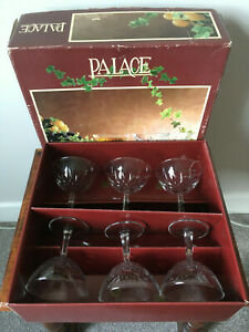 Vintage RCR Palace 24% Lead Crystal Rock Champagne Coupes Glasses x 6 - Boxed