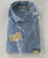 NEW Michael Kors Mens Non Iron Regular Fit LS Button Down Blue Shirt 18 34/35