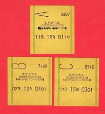 South Yorkshire PTE ~ 3 Almex E Machine Issued Bus Tickets - c.1970s/80s