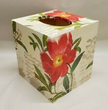 Made To Order, Handmade Wood Decoupage Tissue Box Cover,  Red Dahlia
