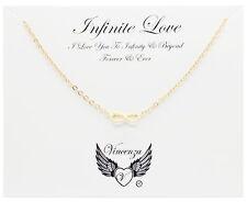 Infinito Amor Chapado en Oro tarjeta de mensaje de inspiración Collar Joyería Regalo