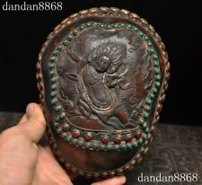 Antique Rare Tibetan buddhism silver skull head Statue tantrick Kapala Bowl Cup