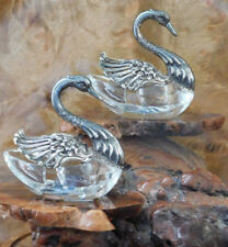 Pair German Sterling & Cut Crystal Swan Salt & Pepper Cellars By Albert Bodemer