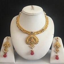 RED GOLD INDIAN VINTAGE MUGHAL COSTUME JEWELLERY NECKLACE EARRINGS SET BRIDAL N
