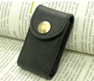 Men small Bag belt Waist fanny Pack wallet purse Cow Leather Pouch black 220
