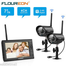 "2.4GHZ Wireless 7"" LCD 4CH DVR Home CCTV Surveillance Kits System IR-Cut Camera"