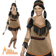 Indian Woman Costume Sexy Squaw Fancy Dress Ladies Pocahontas Outfit New 8-14