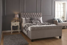 Layla Silver Hopsack Fabric Gas Lift Ottoman Storage Bed - 4ft6, 5ft
