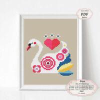 Swan - Nursery art - Modern Embroidery Cross stitch PDF Pattern - 080