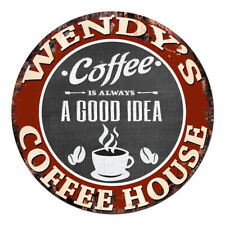 CPCH-0115 WENDY'S COFFEE HOUSE Chic Tin Sign Decor Gift Ideas