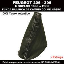 PEUGEOT 306 FUNDA PALANCA DE CAMBIOS 100% PIEL 1998 A 2006 COSIDO EN BLANCO