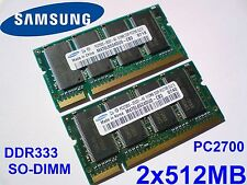 1GB 2x512MB PC2700 DDR333 CL2.5 SAMSUNG 200 pin LAPTOP SODIMM KIT LOT SPEICHER
