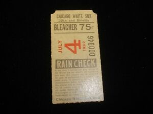 July 4, 1962 Baltimore Orioles @ Chicago White Sox Ticket Stub EX
