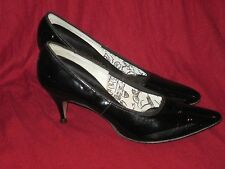 Vintage 1960's Black Patent Leather Pinup Heels by Socialite Size 7Aa