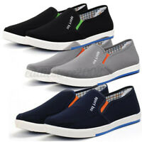 Men's Canvas Casual Slip On Plimsolls Boat Loafers Skate Pumps Shoes Flat ;